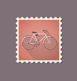retro style bicycle flat stamp with shadow vector image vector image