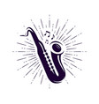 saxophone sax logo or label live music jazz vector image vector image