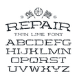 Serif font in thin line style vector image vector image