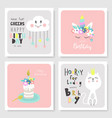 set birthday greeting cards and party vector image vector image