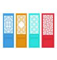 set chinese door in flat style design vector image vector image