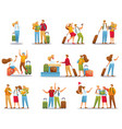 set people on vacation tourists on excursions vector image