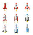 set rocket space ship isolated vector image vector image