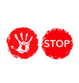 stop grunge sign with hand print and word stop vector image