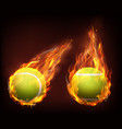 tennis balls flying in flames realistic vector image vector image