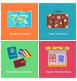 travel planning set poster vector image vector image