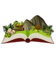 turltle in nature open book vector image