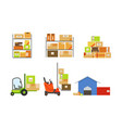 Warehouse building shelves with goods forklifts