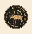 wild animals stickers in vintage style forest vector image vector image