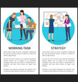 working task strategy set vector image