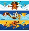 Pirates Horizontal Banners Set vector image