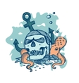 Pirate skull lying on the seabed vector image