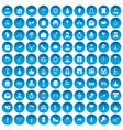 100 valentine day icons set blue vector image vector image