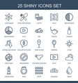 25 shiny icons vector image vector image