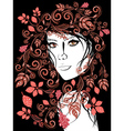 Autumn Girl with Floral2 vector image vector image
