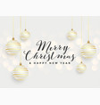 beautiful merry christmas hanging balls background vector image vector image