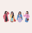 beautiful women group standing together attractive vector image