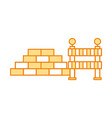 bricks wall with barrier vector image