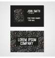 Business card template whit funny doodle monsters vector image vector image