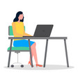 business woman sitting at a desk working with vector image vector image