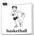Card with man playing basketball vector image vector image