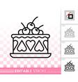 cherry cake baking simple black line icon