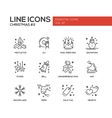 Christmas and New Year - simple line design icons vector image vector image
