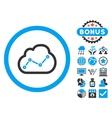 Cloud Analytics Flat Icon with Bonus vector image