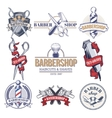 Collection badges logos with barbershop tools vector image vector image