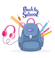 colorful of big blue backpack pink headphon vector image vector image