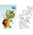 coloring book or page little turtle fishing vector image