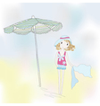 Cute girl on a seaside vector image