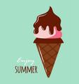 cute ice cream card enjoy summer vector image
