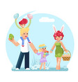 easter family eggs collecting finding searching vector image vector image