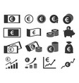 euro coins and banknotes icons money signs set vector image vector image