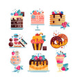 flat set of various tasty desserts with vector image vector image