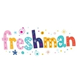 freshman text decorative lettering type design vector image vector image