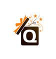 gift box ribbon letter q vector image vector image