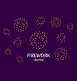 golden firework show on night sky background vector image vector image