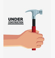 hand with construction tool vector image vector image