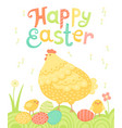 happy easter festive postcard with hen chickens vector image vector image