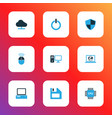 hardware icons colored set with online cloud cpu vector image vector image