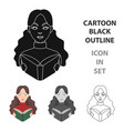 librarian icon in cartoon style isolated on white vector image vector image