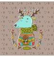 Merry Christmas cute cartoon hand drawn deer vector image vector image