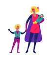 mother and her children playing together in vector image