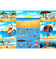 ocean scenes with tourists having fun vector image vector image