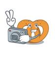 photographer pretzel mascot cartoon style vector image vector image