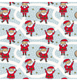 seamless pattern with cute Santa Claus characters vector image vector image
