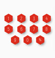 set of numbers from 0 to 9 on button in the shape vector image vector image