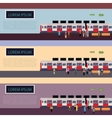 set subway train banners vector image vector image